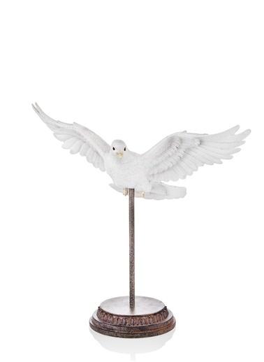 The Mia Biblo Güvercin Standlı - 36 Cm Eskitme Beyaz Beyaz